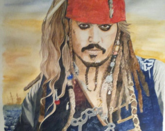 Ltd edition print of Johnny Depp as Captain Jack Sparrow from the Pirates of the Carribean movies, taken from my own painting.