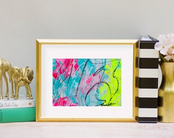 "Original 5"" x 7"" Abstract Paintings: Fluorescent Collection 8 x 10 mat"