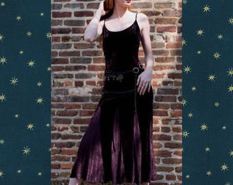 Stevie knicks Purple crushed velvet maxi dress vintage