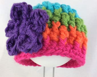 Girls hat, crochet hat, girls beanie, flower beanie, chunky hat, striped kids hat, flower hat, rainbow beanie, child winter beanie