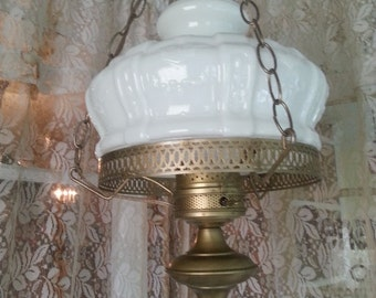 Vintage Hanging Hurricane Style Light White Swag Style Hurricane Lamp SALE!!!