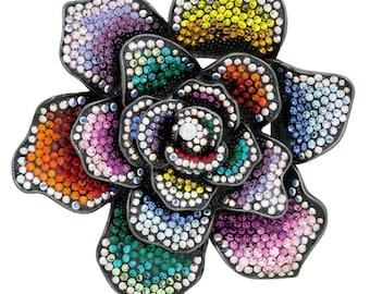 Black Tone Gun Metal Swarovski Element Rose Brooch Pin Pendant