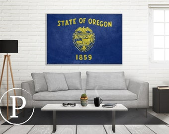 Oregon Flag Canvas, Single Panel Large Canvas, Three Panel Large Canvas, Oregon Flag, Large Canvas Wall Art, Vintage Flag on Canvas