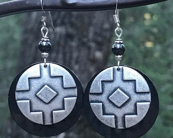 Native American earrings, native American jewelry, tribal earrings, ethnic, hammered metal, Hemetite earrings, dangle earrings