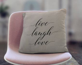 Personalized Pillow, Live Laugh Love, Custom Pillow, Pillow Cover, Wedding Gift, Anniversary Gift, Housewarming Gift, Home Decor, Home Gifts