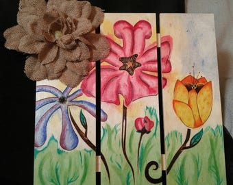 """Wood Burned - Pyrography and Watercolour """"Flowerbed"""" Found Object Assemblage Painting on Pine Fence Piece"""