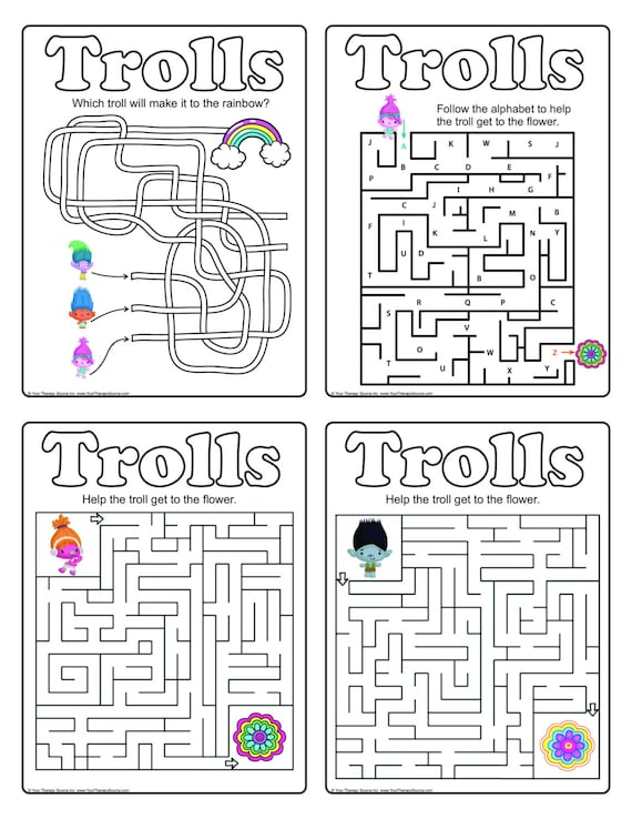 Trolls Printable Mazes