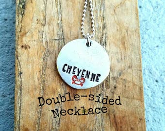 Personalized hand stamped zodiac necklace. Astrology cancer necklace. Zodiac sign gift. Nickname necklace. Custom printed necklace.