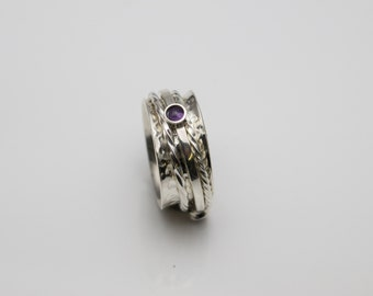 Hand Made Sterling Silver Spinning Ring set with three 3mm Amythst