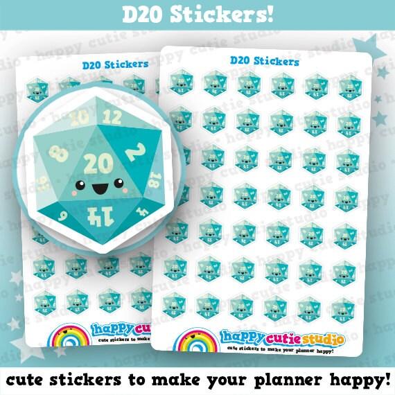 42 Cute D20/Gamer/Gaming Planner Stickers, Filofax, Happy Planner, Erin Condren, Kawaii, Cute Sticker, UK