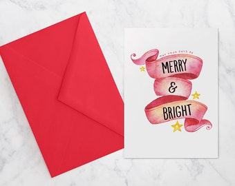 CHRISTMAS GREETING CARD A6 | merry & bright | instant download
