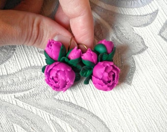 Peony earrings, handmade earrings, clay peony, flower earrings, handmade flowers, beautiful jewelry, handmade peony, handmade jewelry.