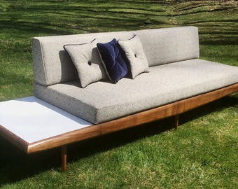 1960's Danish Mid Century Modern Platform Sofa with Attached End Tables Refinshed and Reupholstered  in Blue & White Tweed Upholstery Fabric