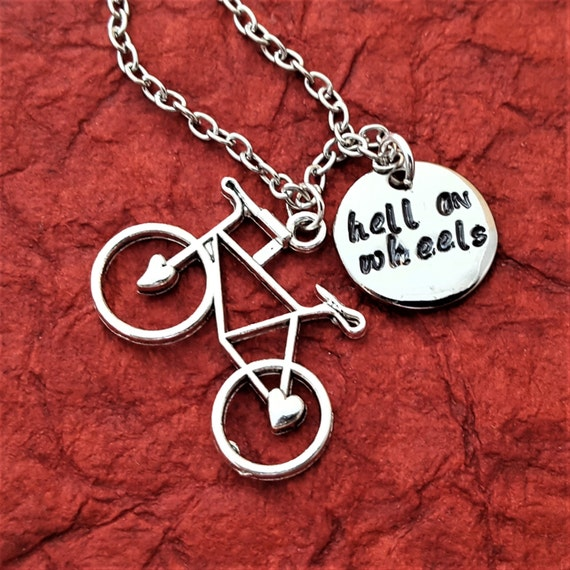 Hell on Wheels Bicycle Charm Necklace, Custom Bicycle Jewelry, Gifts for Cyclists Bikers, Bicycle Charm, Bike Charm, Cycling Team Jewelry