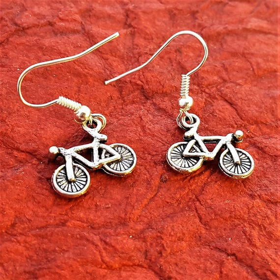 Bicycle Earrings, Bike Earrings, Silver Bronze Bike Charms, Crossfit Jewelry, Gifts for Runners Bikers, Fitness Sports Jewelry, Bike Charms