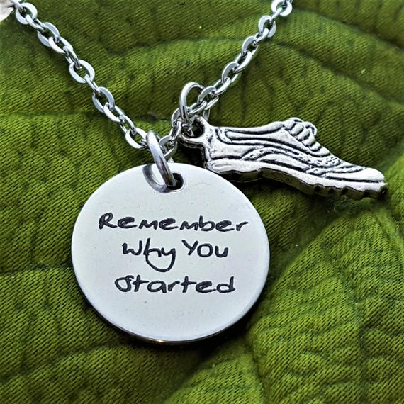 Gift for Coach, Fitness Jewelry, CrossFit Triathlete Jewelry, Remember Why You Started Necklace, Inspirational Quotes, Trainer Sports Charms