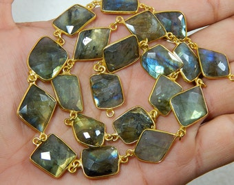 Gemstone 100% Natural Labradorite Faceted Beads Gold Metal Fancy Shape 12x13 To 14x15 mm Approx Good Quality