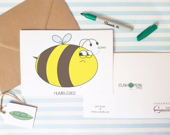Quirky Sorry Card - Bee Puns - Silly Forgive Me Card - Alternative Card to Apologise - Funny Say Sorry Card - Cute Apology - Charity Card