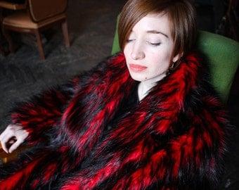 faux fur coat red-black AE lux