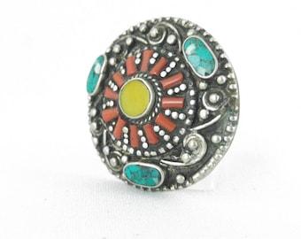 Large Tibetan ring, boho style