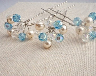 Crystal Bridal Hairpin Set, Crystals and pearls hairpins,  silver hairpin, Bridal hair accessories 2