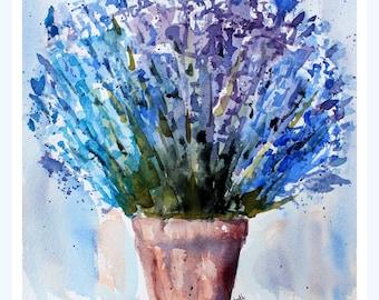 Original blue lavender Watercolor Painting, Lavender Painting, Watercolor Lavender