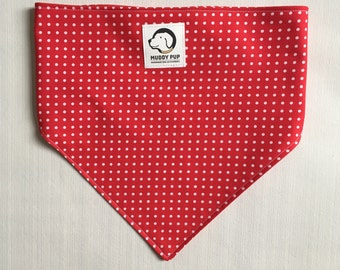 Dog scarf - Red bandana - Dog neckerchief - Polka dots - Red dog neckerchief - Spotty bandana - Red pet scarf - Dog accessories