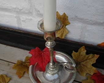 Silver plated chamberstick,chamberstick,vintage candlestick holder,