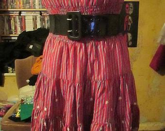 Vintage Strapless 90s Stripe Dress Lace Women Teens Short Yumi