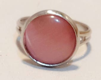 Healing crystal ring,silver adjustable ring with rhodonite crystal  spiritual,healing,mood,crystal stone,