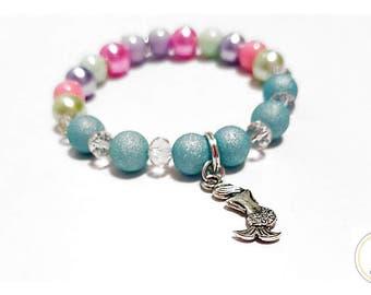 Pearl and Beaded Little Girls Mermaid Bracelet - girls jewelry - toddler girls pearl bracelet - kids bracelet - gift idea