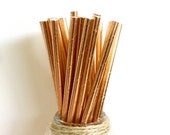 Rose Gold Metallic Paper Party Straws - Pack of 25 - Garden Party, Engagement, Bridal Shower, Birthday Party, Graduation Party