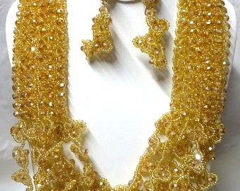 Sparkling Gold  Crystal Beads Exquisite New Design Bridal Wedding Party Jewelry Set