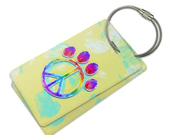 Paw Print Peace Sign Suitcase Bag Id Luggage Tag Set