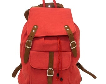 Autumn Red Aviator Backpack   Leather & Jute