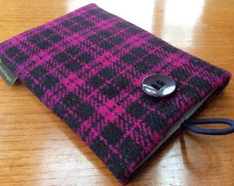 """Harris Tweed iPad mini, 2, 3, 4, Tweed case, 7"""" tablet cover, navy and fuschia pink tartan wool"""