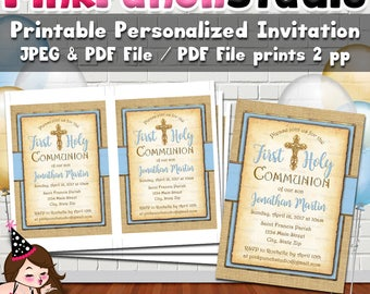 Personalized Printable First Communion Invitation Digital File PDF and JPEG Blue Gold Burlap