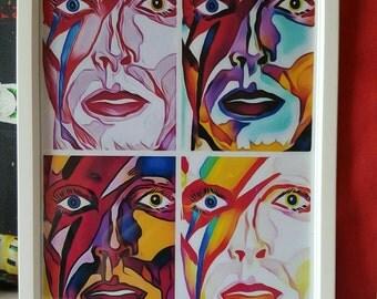 David Bowie Pop art style digital art A4 print (framed)