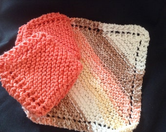 Knitted Dishcloths Set of 3 - Coral/Coral Stripe