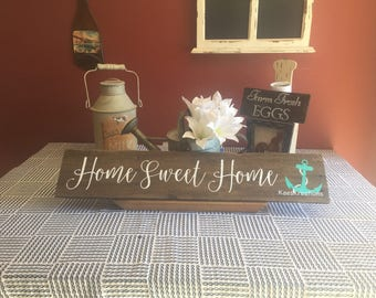 Home sweet home wood sign/ home wood decor/ reclaimed wood sign/ HOUSE warming gift/ beach decor