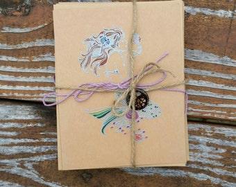 Mermaid Notecard Hand-Decorated Hand-Stamped Natural Brown Blank Embossed Notecards Sea Ocean Gift 10 pack