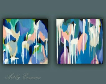 "SALE, Original Painting, Set of 2 Abstract Painting, Modern painting, Contemporary Art, Wall Decor 20""x40"" Ready to Hang"