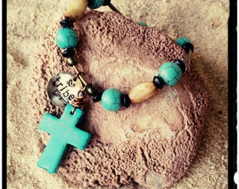My Tribe - Beaded Bracelet//Large Turquoise Cross//Hand Stamped Charm - Stretch Bracelet - His or Hers/Unisex