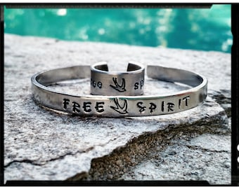 Free Spirit - Hand Stamped Cuff Bracelet or Cuff Ring - Swallow Bird//Wings - 1100 Aluminum/Tarnish Resistant/Hypoallergenic - Gift for Her