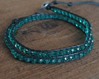 Turquoise Beaded Leather Double Wrap Bracelet