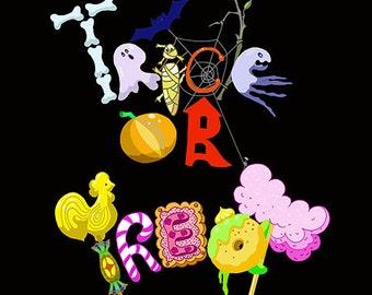 Funny HALLOWEEN art print, trick or treat inscription, clip art, lettering, on black, pumpkin, spider web, bat, ghosts.