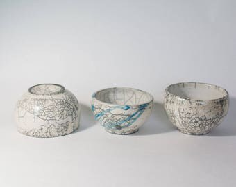 Raku fired tea bowls