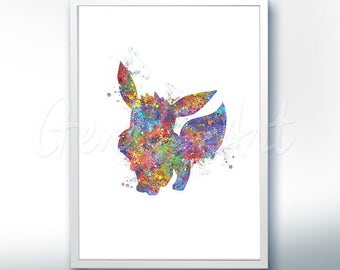 Pokemon Eevee Pokemon Go Watercolor Art - Watercolor Painting - Watercolor Poster - Wall Decor - Home Decor - House Warming Gift