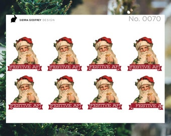 Festive AF stickers - 0070 Christmas stickers, santa stickers, sarcastic santa, sassy stickers, Happy Planner, Day Designer, Erin Condren