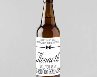 6 pcs Will You Be My Groomsman Personalized Beer Stickers - Groomsmens Gifts - PPD-JM5721002-6